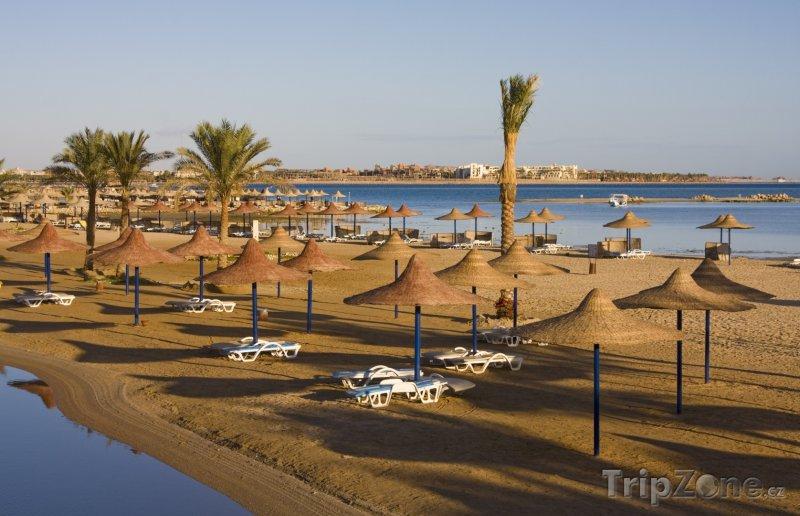 Fotka, Foto Pláž se slaměnými slunečníky (Hurghada, Egypt)
