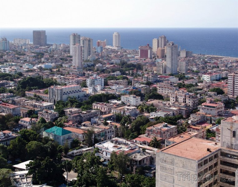 Fotka, Foto Pohled na havanské mrakodrapy (Havana, Kuba)