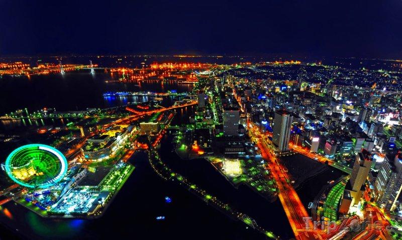 Fotka, Foto Pohled na Jokohamu v noci (Jokohama, Japonsko)