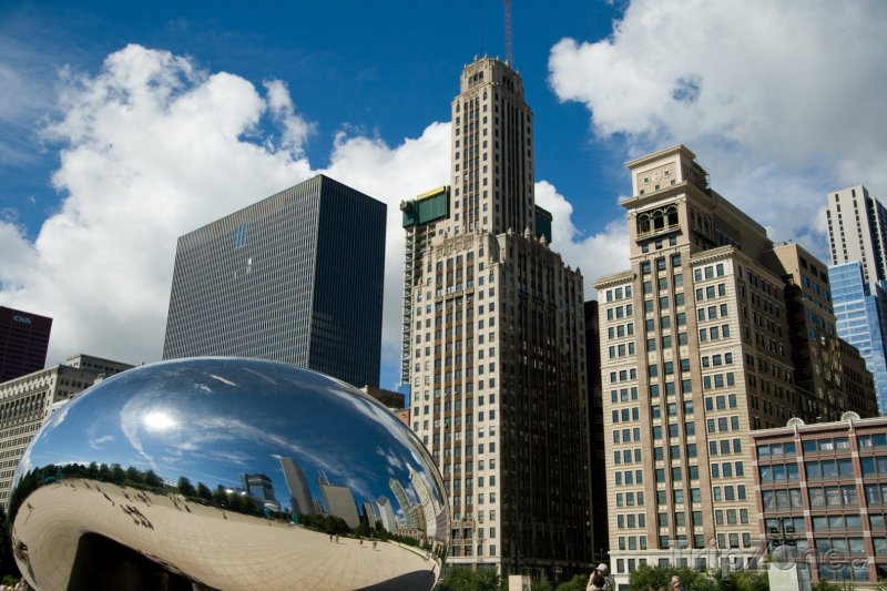 Fotka, Foto Skulptura Cloud Gate v Chicagu (Chicago, USA)