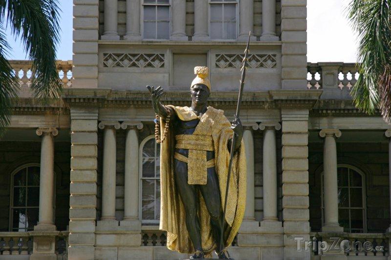 Fotka, Foto Socha krále Kamehameha (Honolulu, USA)