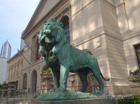 Socha lva u vchodu do muzea Art Institute of Chicago