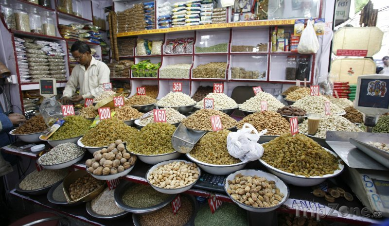 Fotka, Foto Tradiční obchod s kořením (Nové Dillí, Indie)
