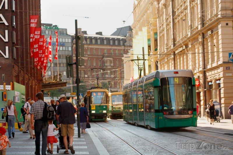 Fotka, Foto Tramvaje v centru města (Helsinky, Finsko)