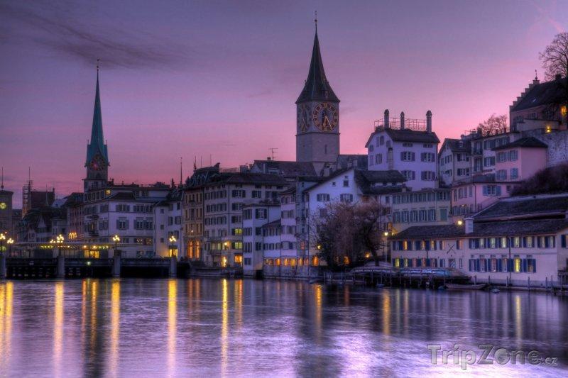 Fotka, Foto Západ slunce nad Curychem (Švýcarsko)