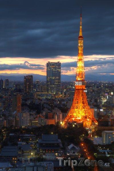 Fotka, Foto Západ slunce u Tokijské věže (Tokio, Japonsko)