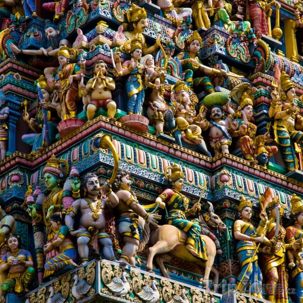 Fotka, Foto Detail střechy chrámu Sri Veeramakaliamman (Singapur)