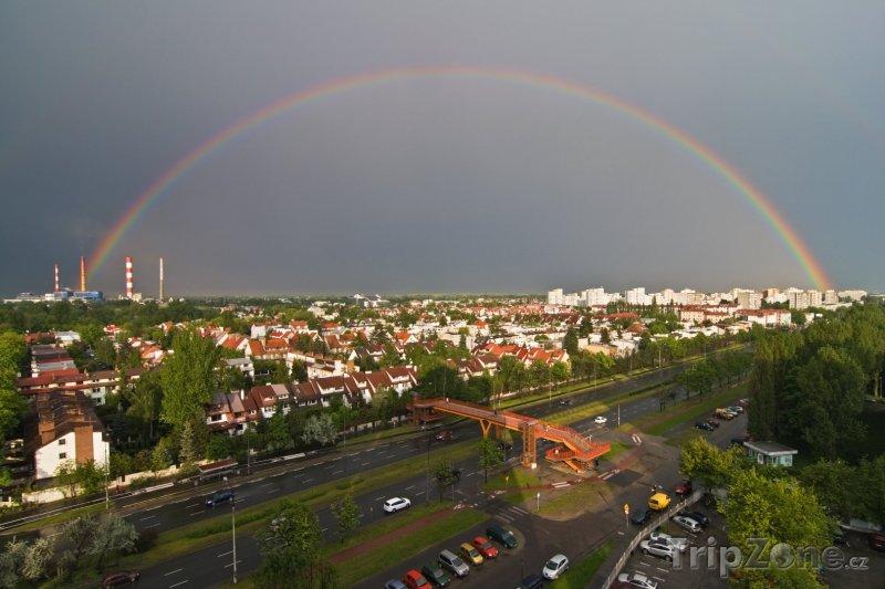 Fotka, Foto Duha nad městem (Varšava, Polsko)