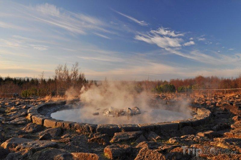 Fotka, Foto Fontána s termální vodou (Reykjavík, Island)