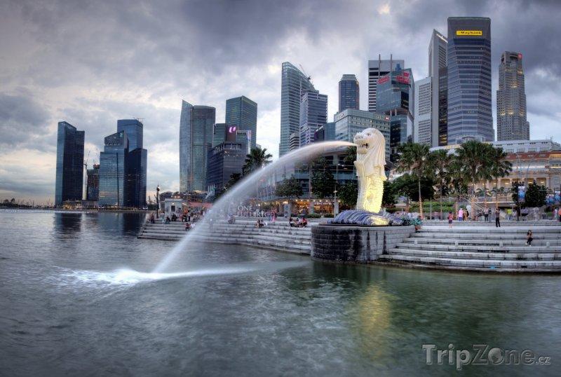 Fotka, Foto Fontána v parku Merlion (Singapur)