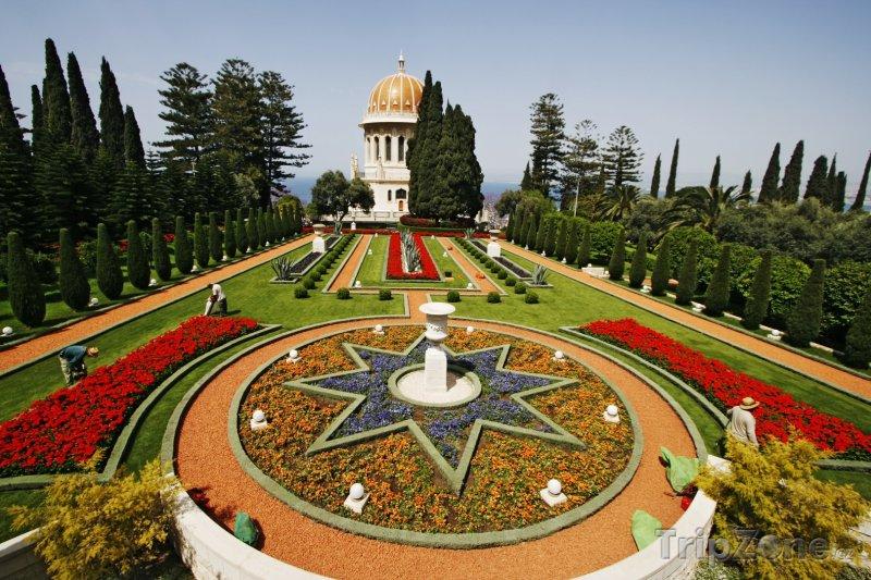 Fotka, Foto Fontána v zahradách Bahá'í (Haifa, Izrael)