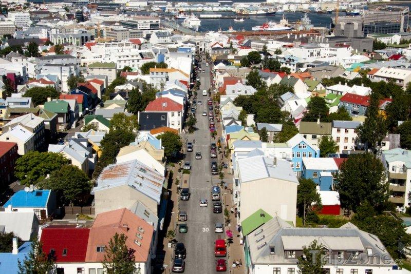Fotka, Foto Hlavní nákupní třída Laugavegur (Reykjavík, Island)