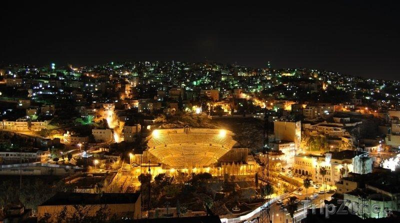 Fotka, Foto Město Ammán v noci (Jordánsko)