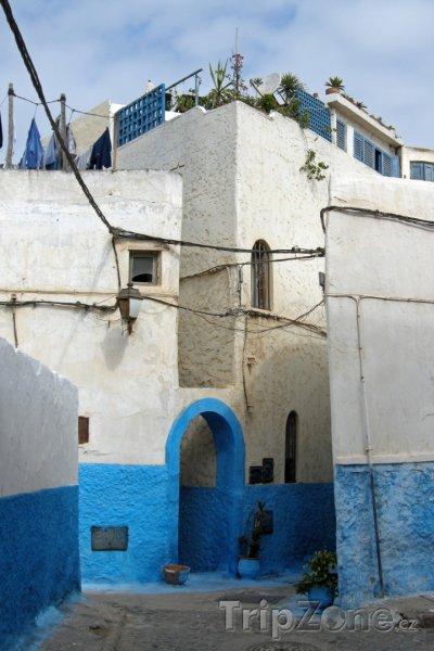 Fotka, Foto Modro bílé domy v pevnosti Udayas (Rabat, Maroko)