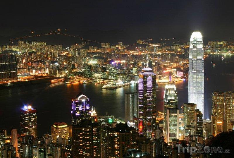 Fotka, Foto Noční Victoria Harbour (Hongkong)