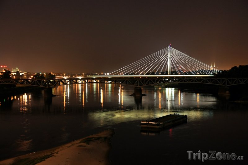Fotka, Foto Osvětlený most Świętokrzyski (Varšava, Polsko)