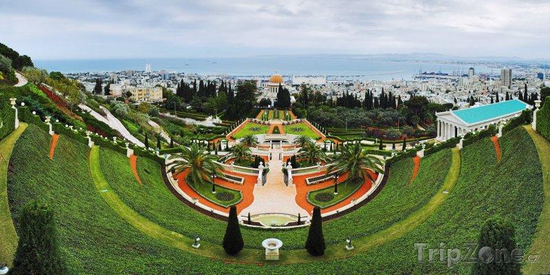 Fotka, Foto Panoráma zahrad Bahá'í (Haifa, Izrael)