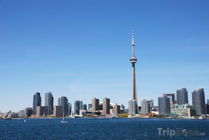 Fotka, Foto Pohled na CN Tower z přístavu (Toronto, Kanada)