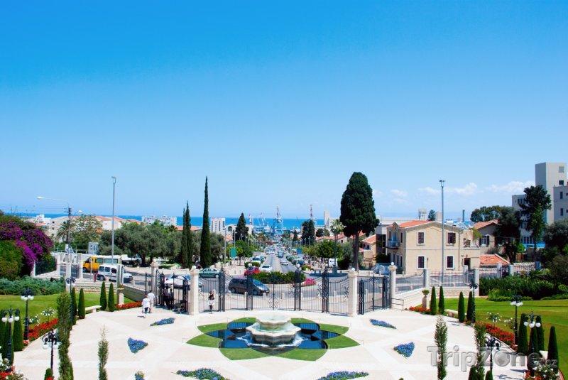Fotka, Foto Pohled na město ze zahrad Bahá'í (Haifa, Izrael)