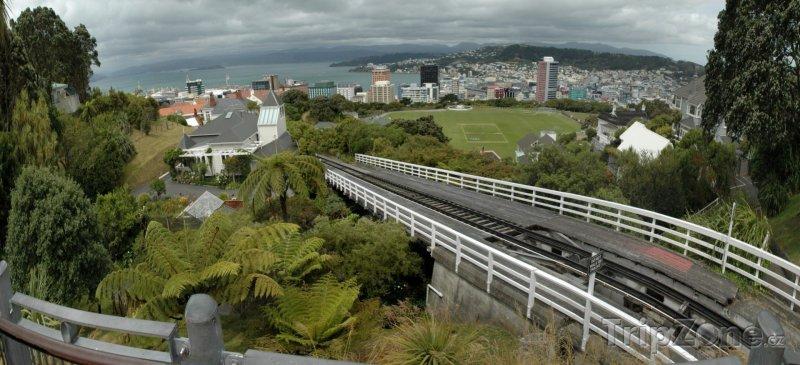 Fotka, Foto Pohled z horní stanice lanovky (Wellington, Nový Zéland)