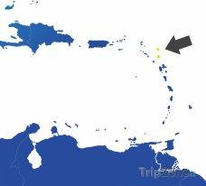 Poloha Antiguy a Barbudy na mapě Karibiku