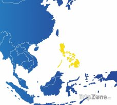 Poloha Filipín na mapě Asie