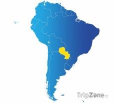 Poloha Paraguaye na mapě Jižní Ameriky