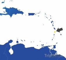 Poloha Svaté Lucie na mapě Karibiku