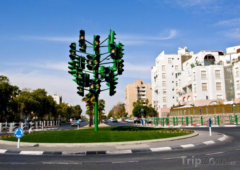 Fotka, Foto Semafory na kruhovém objezdu (Ejlat, Izrael)