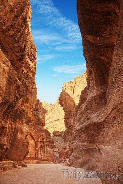 Fotka, Foto Siq, vstup do skalního města Petra (Jordánsko)