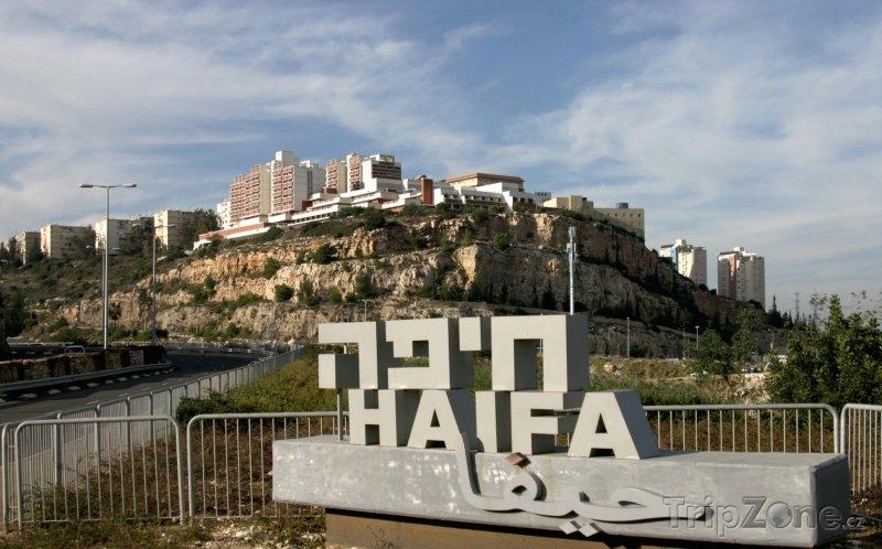 Fotka, Foto Uvítací slogan při vjezdu do města (Haifa, Izrael)