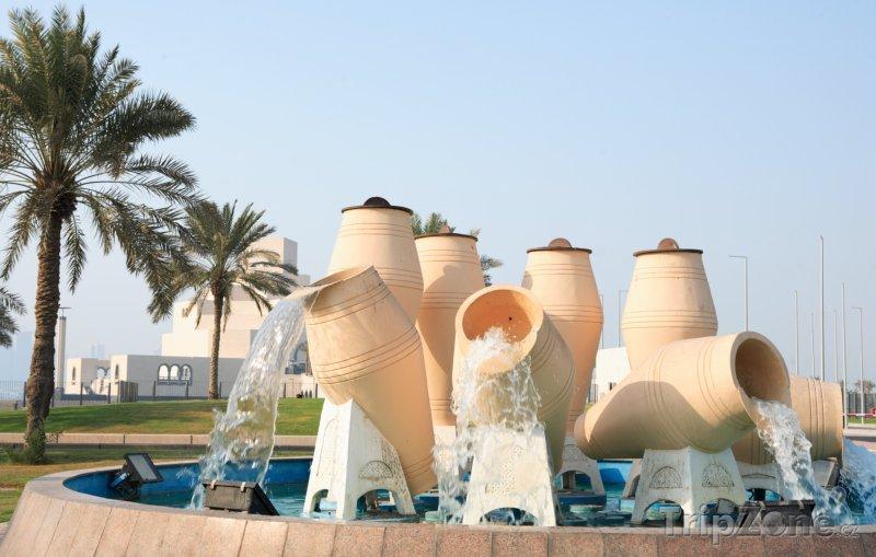Fotka, Foto Fontána na promenádě Corniche v Dauhá (Katar)