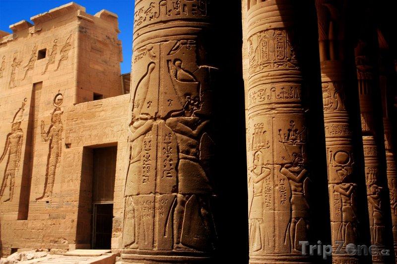 Fotka, Foto Hieroglyfy na chrámu Philae (Asuán, Egypt)