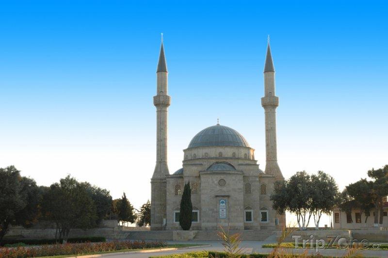 Fotka, Foto Mešita se dvěma minarety v Baku (Ázerbájdžán)