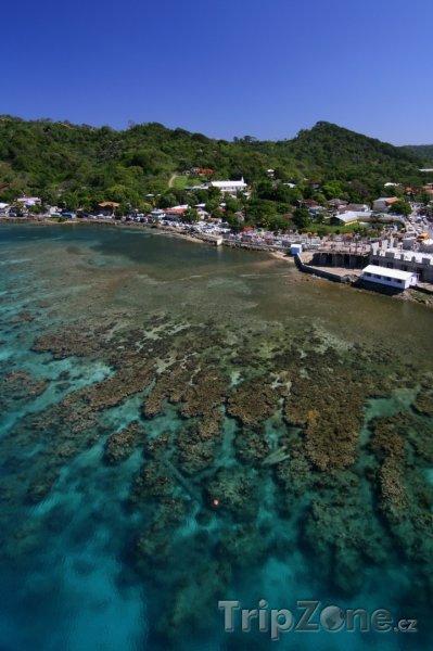 Fotka, Foto Pobřeží ostrova Roatán (Honduras)