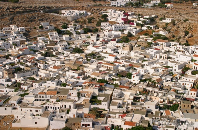 Fotka, Foto Pohled na domy z Akropole (Líndos, Řecko)