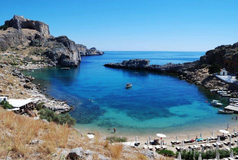 Fotka, Foto Pohled na pláž v zálivu (Líndos, Řecko)