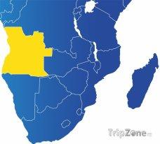 Poloha Angoly na mapě Afriky