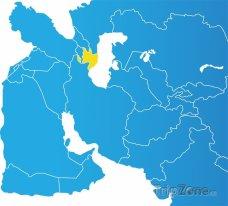 Poloha Ázerbájdžánu na mapě Asie