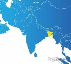 Poloha Bangladéše na mapě Asie