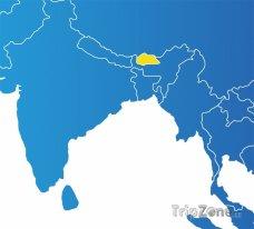 Poloha Bhútánu na mapě Asie