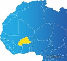 Poloha Burkiny Faso na mapě Afriky