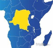Poloha Demokratické rep. Kongo na mapě Afriky