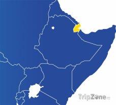 Poloha Džibutska na mapě Afriky