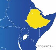 Poloha Etiopie na mapě Afriky