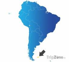 Poloha Falklandů na mapě Jižní Ameriky