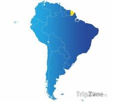 Poloha Francouzské Guyany na mapě Jižní Ameriky