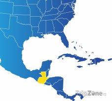 Poloha Guatemaly na mapě Severní Ameriky