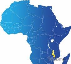Poloha Malawi na mapě Afriky