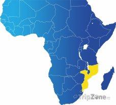 Poloha Mosambiku na mapě Afriky